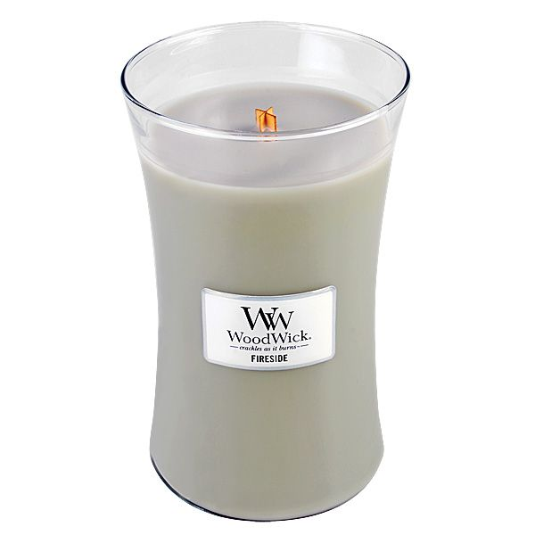 Woodwick large candle fireside geurkaars