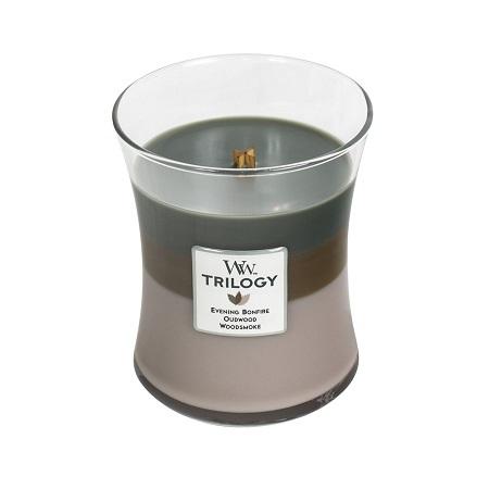woodwick cozy cabin trilogy medium candle geurkaars