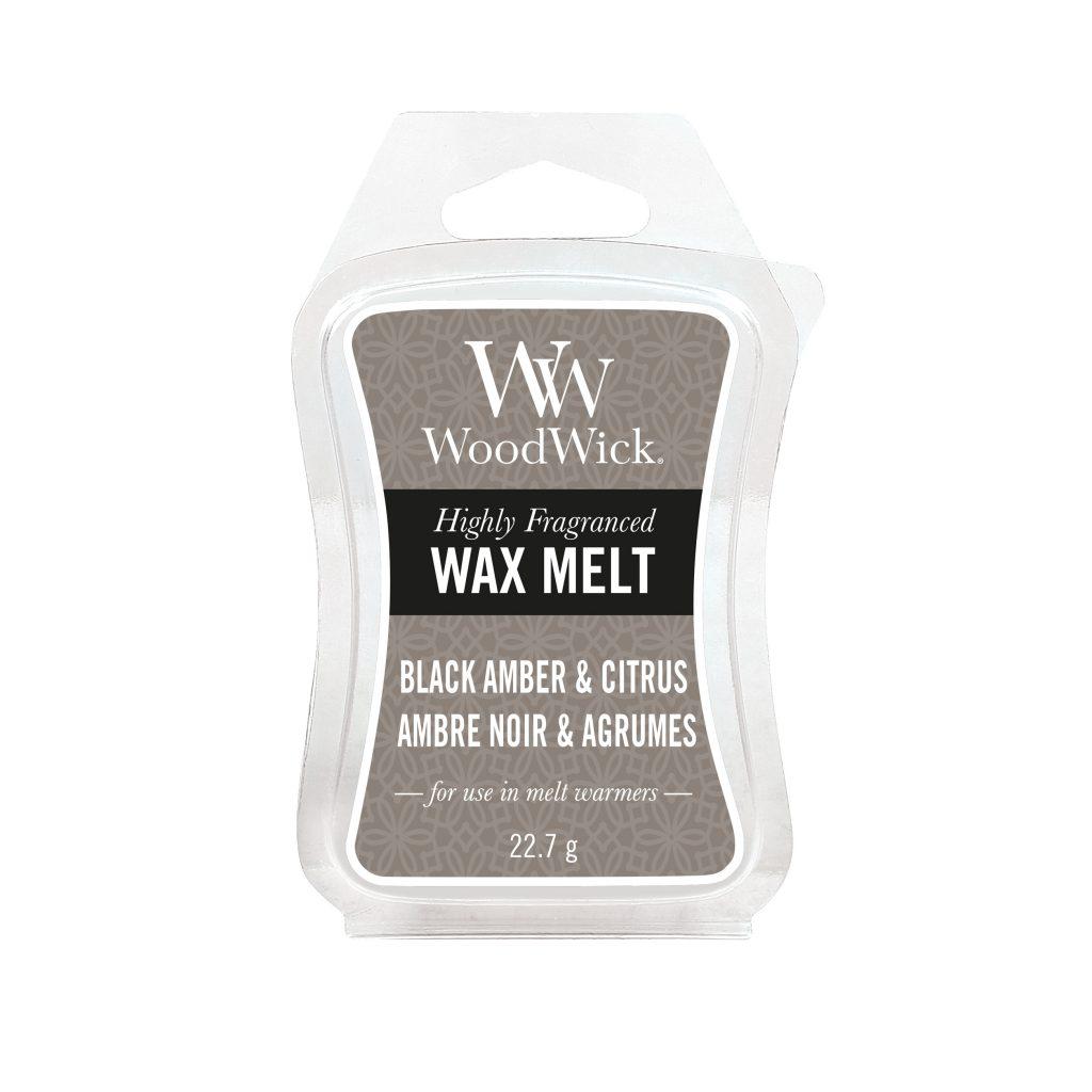 Woodwick Mini Wax Melt Black Amber & Citrus