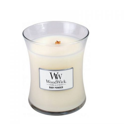 Woodwick Baby Powder Medium Candle Geurkaars