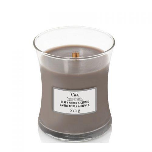 Woodwick Black Amber Citrus Medium Candle Geurkaars