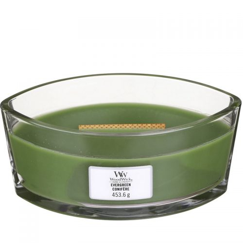 Woodwick Evergreen Heartwick Flame Ellipse Geurkaars