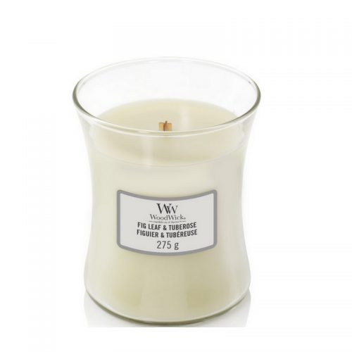 Woodwick Fig Leaf Tuberose Medium Candle Geurkaars