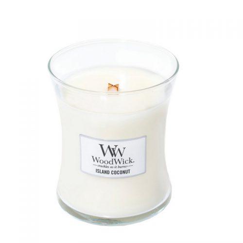Woodwick Island Coconut Medium Candle Geurkaars