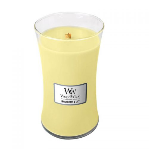 Woodwick Lemongrass & lily Large Candle Geurkaars