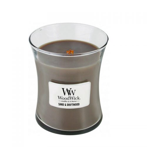 Woodwick Sand and Driftwood Medium Candle Geurkaars