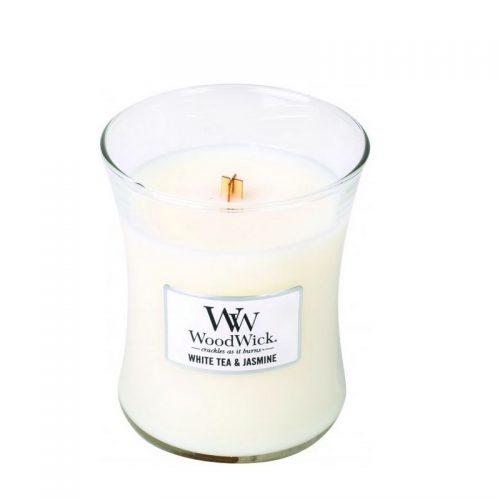 Woodwick White Tea Jasmine Medium Candle Geurkaars