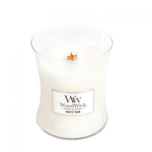 Woodwick White Teak Medium Candle Geurkaars