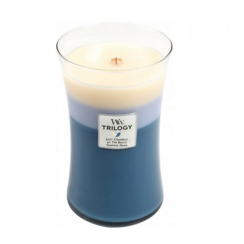 Woodwick Beachfront Cottage Trilogy Large Candle Geurkaars