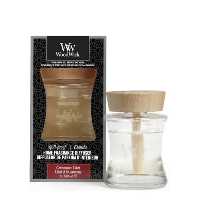 woodwick cinnamon chai spill proof home fragrance diffuser