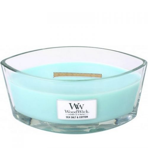 Woodwick Sea Salt and Cotton Heartwick Flame Ellipse Geurkaars