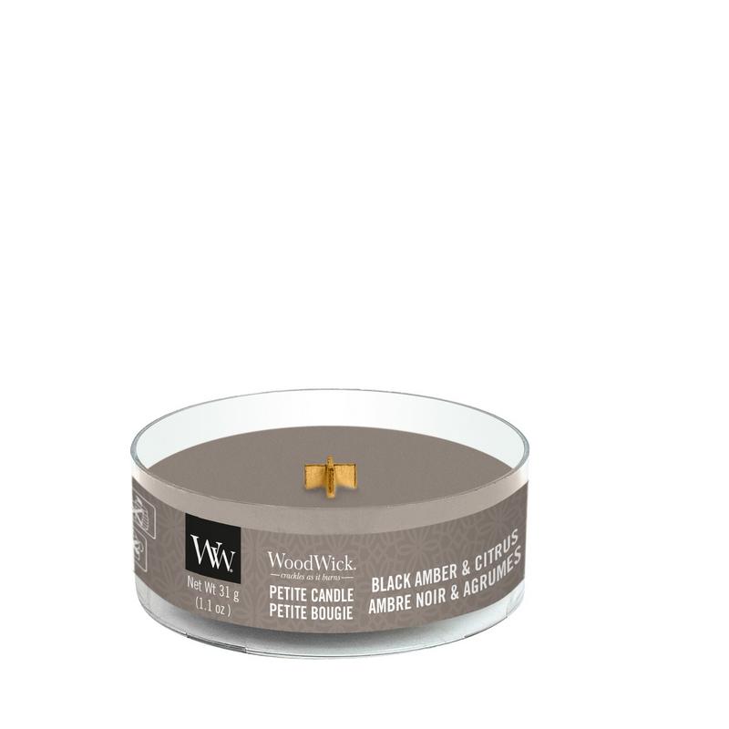 WoodWick Black Amber Citrus Petite Candle