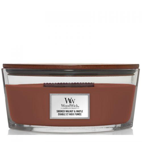 Woodwick Smoked Walnut & Maple Heartwick Flame Ellipse Geurkaars